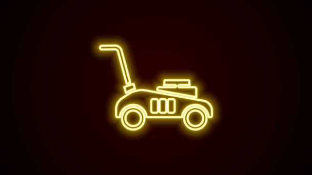 Glowing neon line Lawn mower icon isolated on black background. Lawn mower cutting grass. 4K Video motion graphic animation