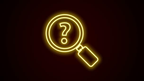 Žhnoucí neonová čára Neznámá ikona hledání izolovaná na černém pozadí. Lupa a otazník. Grafická animace pohybu videa 4K
