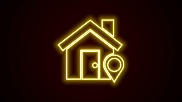 Zářící neonová čára Ukazatel mapy s ikonou domu izolovanou na černém pozadí. Značkový symbol domovské polohy. Grafická animace pohybu videa 4K