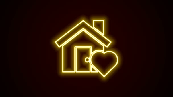 Zářící neonová čára Dům s ikonou ve tvaru srdce izolované na černém pozadí. Symbol domova lásky. Rodina, nemovitosti a nemovitosti. Grafická animace pohybu videa 4K