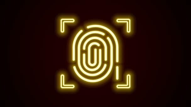 Ragyogó neon vonal Ujjlenyomat ikon elszigetelt fekete háttérrel. Azonosító ikon. Azonosító jel. Érintsd meg! 4K Videó mozgás grafikus animáció