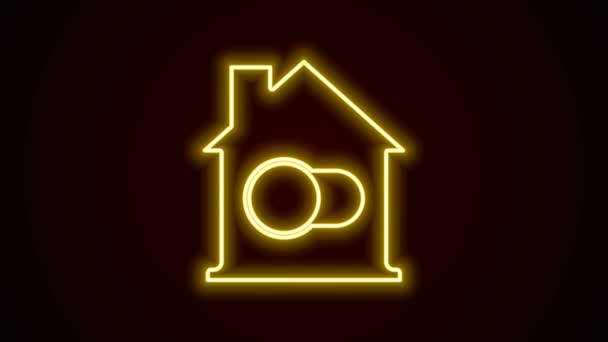 Glowing neon line Smart home icon isolated on black background. Remote control. 4K Video motion graphic animation
