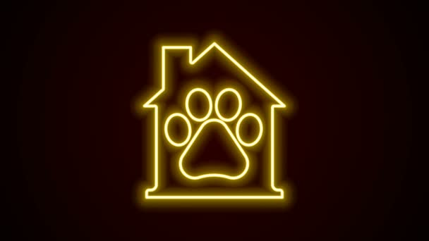 Glowing neon line Pet house icon isolated on black background. 4K Video motion graphic animation