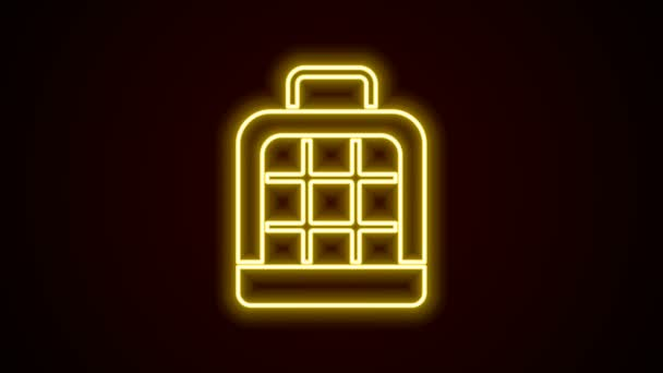 Žhnoucí neonová linie Pet taška ikona izolované na černém pozadí. Nosič pro zvířata, psy a kočky. Kontejner pro zvířata. Krabice na přepravu zvířat. Grafická animace pohybu videa 4K