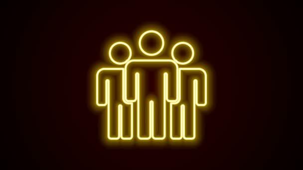 Leuchtende Leuchtschrift Benutzergruppen-Symbol isoliert auf schwarzem Hintergrund. Gruppe von Menschen Symbol. Business Avatar Symbol - Benutzerprofil-Symbol. 4K Video Motion Grafik Animation
