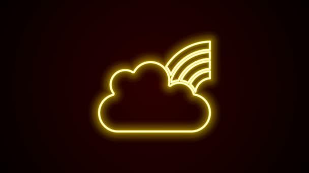 Ragyogó neon vonal Szivárvány felhők ikon elszigetelt fekete háttérrel. 4K Videó mozgás grafikus animáció