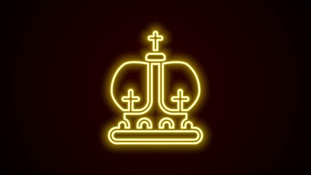 Ragyogó neon vonal Brit korona ikon elszigetelt fekete háttérrel. 4K Videó mozgás grafikus animáció