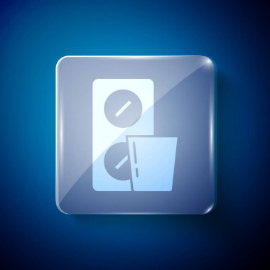 White Pills in blister pack icon isolated on blue background. Medical drug package for tablet, vitamin, antibiotic, aspirin. Square glass panels. Vector. icon