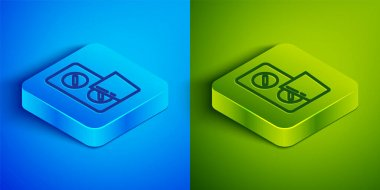Isometric line Pills in blister pack icon isolated on blue and green background. Medical drug package for tablet, vitamin, antibiotic, aspirin. Square button. Vector. icon