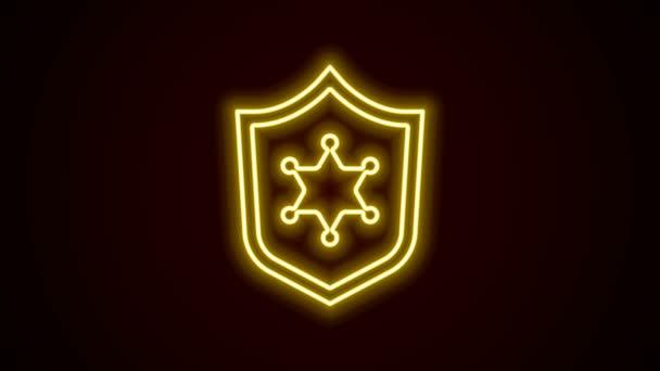 Ragyogó neon vonal Rendőrségi jelvény ikon elszigetelt fekete háttérrel. Seriff jelvény. 4K Videó mozgás grafikus animáció
