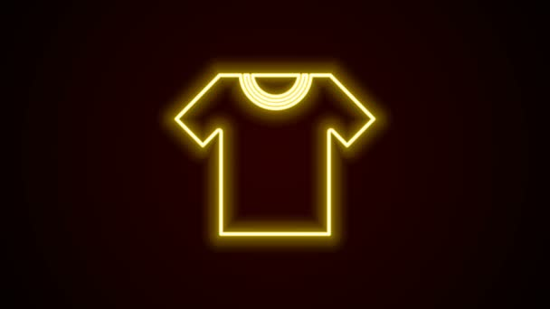 Glowing neon line T-shirt icon isolated on black background. 4K Video motion graphic animation