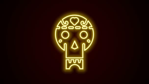 Leuchtende neonfarbene mexikanische Totenkopf-Ikone isoliert auf schwarzem Hintergrund. 4K Video Motion Grafik Animation