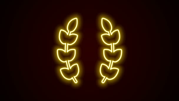 Glowing neon line Laurel wreath icon isolated on black background. Triumph symbol. 4K Video motion graphic animation