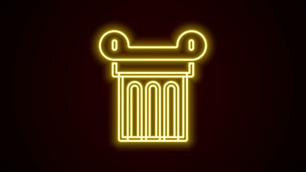 Leuchtende Leuchtschrift Antikes Säulensymbol isoliert auf schwarzem Hintergrund. 4K Video Motion Grafik Animation