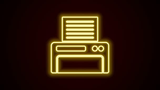 Leuchtende Leuchtschrift Druckersymbol isoliert auf schwarzem Hintergrund. 4K Video Motion Grafik Animation