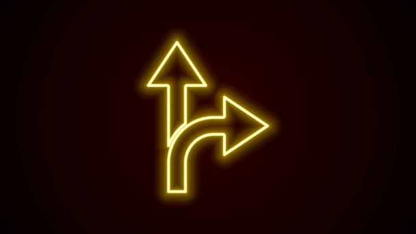 Glowing neon line Road traffic sign. Signpost icon isolated on black background. Pointer symbol. Isolated street information sign. Direction sign. 4K Video motion graphic animation
