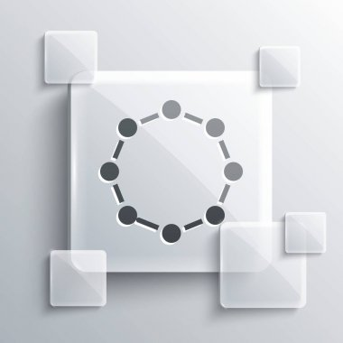 Grey Chemical formula icon isolated on grey background. Abstract hexagon for innovation medicine, health, research and science. Square glass panels. Vector.