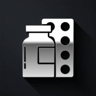 Silver Pills in blister pack icon isolated on black background. Medical drug package for tablet, vitamin, antibiotic, aspirin. Long shadow style. Vector. icon