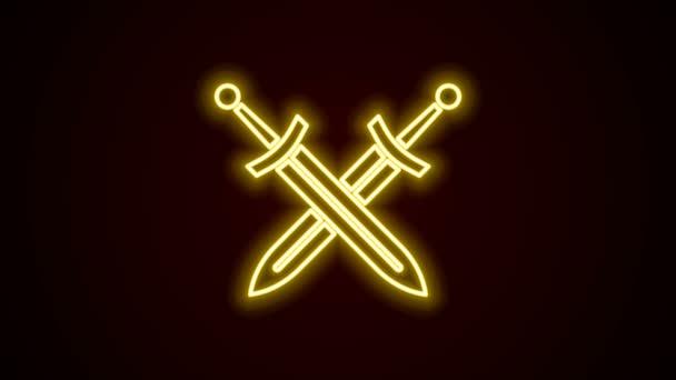 Leuchtende Leuchtschrift Gekreuztes mittelalterliches Schwert-Symbol isoliert auf schwarzem Hintergrund. Mittelalterliche Waffe. 4K Video Motion Grafik Animation