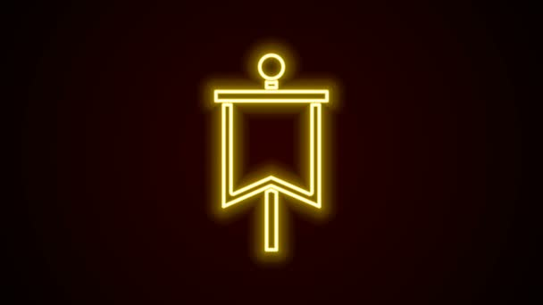 Glowing neon line Medieval flag icon isolated on black background. Country, state, or territory ruled by a king or queen. 4K Video motion graphic animation