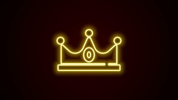 Žhnoucí neonová čára Ikona koruny krále izolovaná na černém pozadí. Grafická animace pohybu videa 4K
