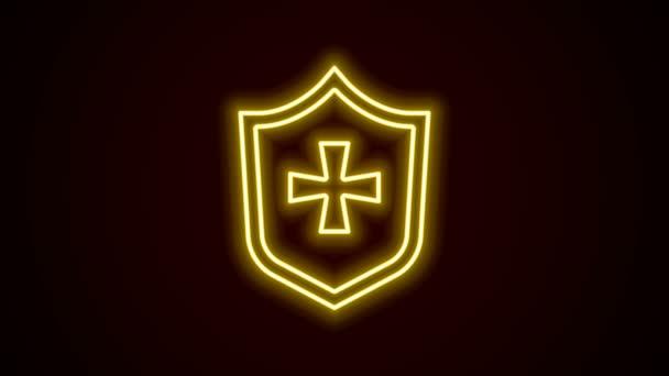 Ragyogó neon vonal Pajzs ikon elszigetelt fekete háttér. Őrség jel. Biztonság, biztonság, védelem, adatvédelem. 4K Videó mozgás grafikus animáció