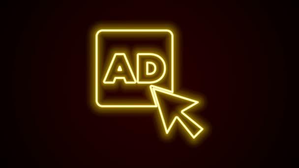 Leuchtende Leuchtschrift Werbeikone isoliert auf schwarzem Hintergrund. Konzept des Marketing- und Werbeprozesses. Reaktionsfähige Anzeigen. Werbung in den sozialen Medien. 4K Video Motion Grafik Animation