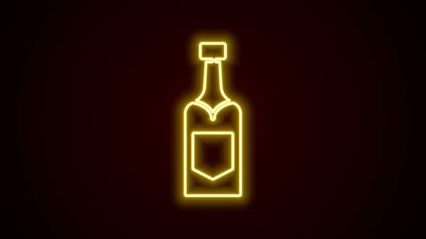 Glowing neon line Champagne bottle icon isolated on black background. 4K Video motion graphic animation