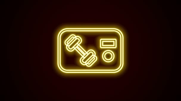 Ragyogó neon vonal Fitness klub, tornaterem ikon elszigetelt fekete háttérrel. 4K Videó mozgás grafikus animáció