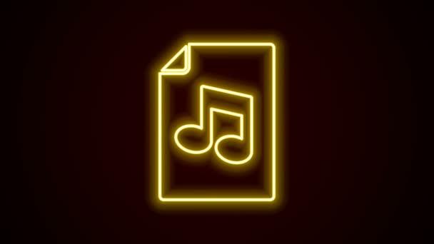 Zářící neonový řádek Hudební kniha s ikonou poznámky izolované na černém pozadí. Hudební list s notovou osnovou. Notebook pro hudební poznámky. Grafická animace pohybu videa 4K