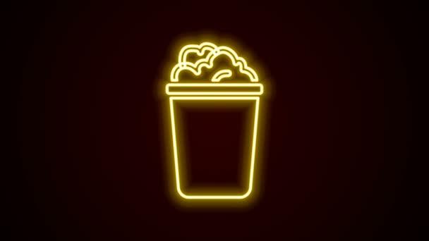 Leuchtende Neon-Linie Eimer mit Seifenlauge Symbol isoliert auf schwarzem Hintergrund. Schüssel mit Wasser vorhanden. Wäsche waschen, Ausrüstung reinigen. 4K Video Motion Grafik Animation