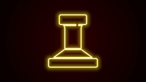 Zářící neonová čára Ikona razítka izolovaná na černém pozadí. Grafická animace pohybu videa 4K
