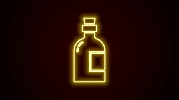 Ragyogó neon vonal Alkohol ital Rum palack ikon elszigetelt fekete alapon. 4K Videó mozgás grafikus animáció