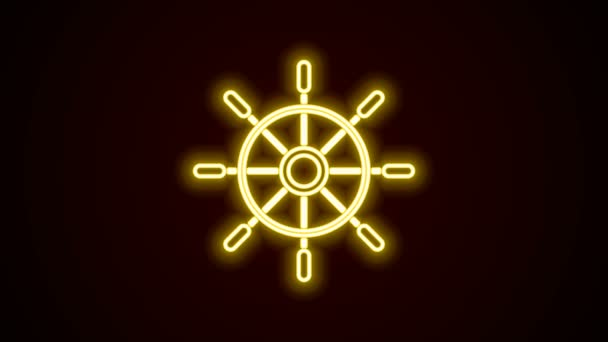 Glowing neon line Ship steering wheel icon isolated on black background. 4K Video motion graphic animation