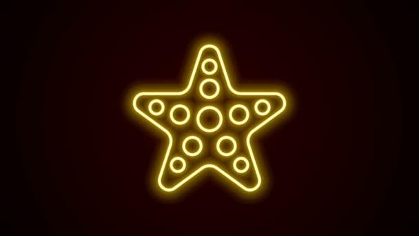 Zářící neonová čára Ikona hvězdice izolovaná na černém pozadí. Grafická animace pohybu videa 4K