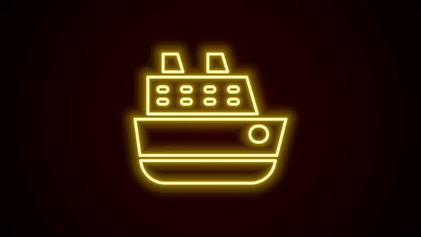 Glowing neon line Cruise ship icon isolated on black background. Travel tourism nautical transport. Voyage passenger ship, cruise liner. Worldwide cruise. 4K Video motion graphic animation