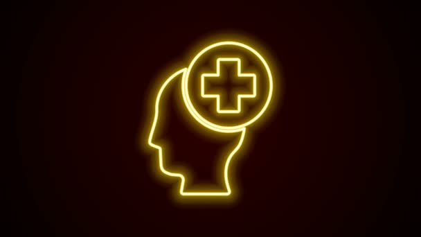 Glowing neon line Male head with hospital icon isolated on black background. Head with mental health, healthcare and medical sign. 4K Video motion graphic animation