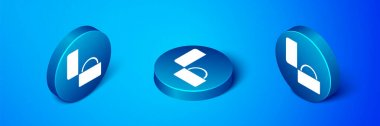 Isometric Diamond engagement ring icon isolated on blue background. Blue circle button. Vector. icon