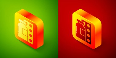 Isometric Pills in blister pack icon isolated on green and red background. Medical drug package for tablet, vitamin, antibiotic, aspirin. Square button. Vector. icon