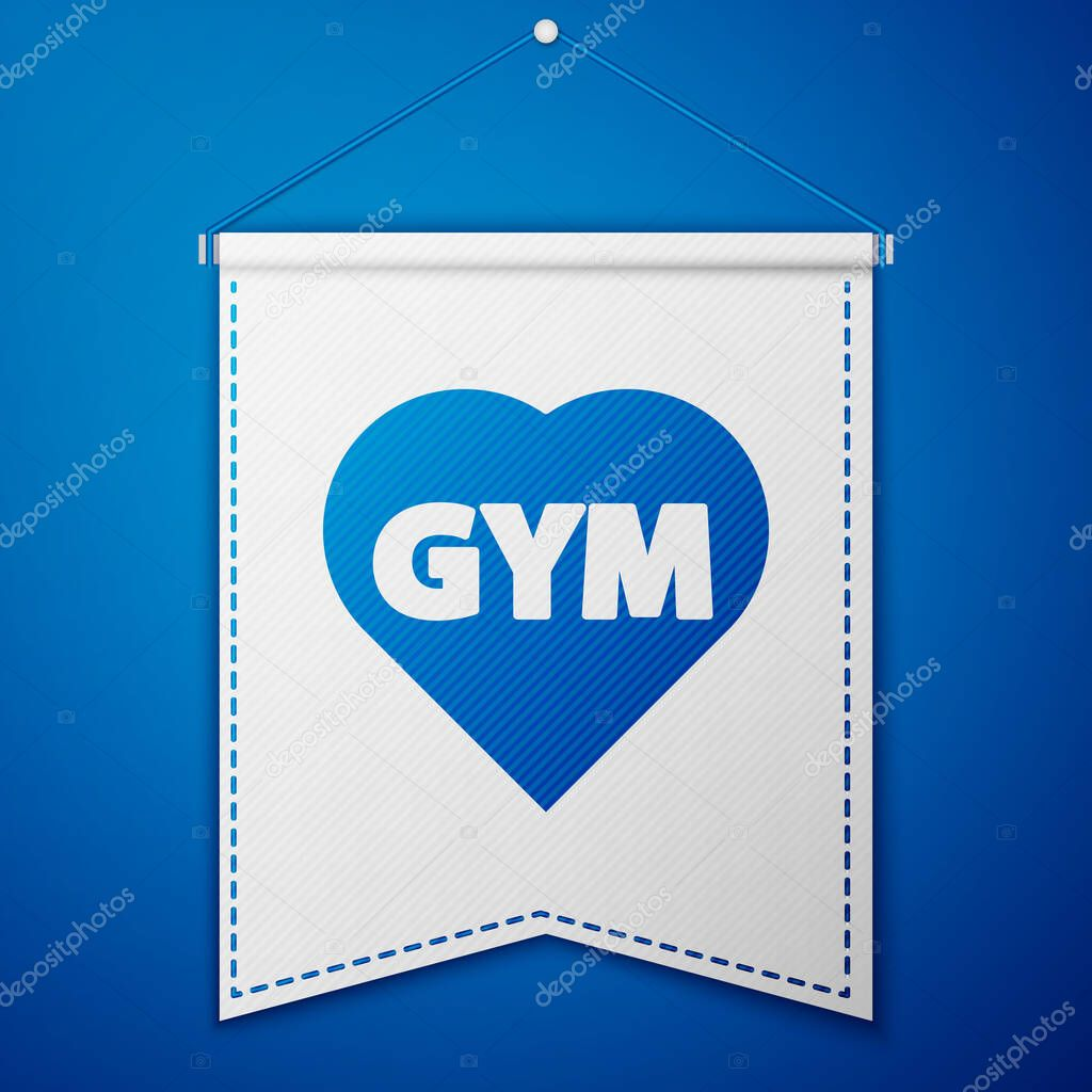 Blue Fitness gym heart icon isolated on blue background. I love fitness. White pennant template. Vector. icon