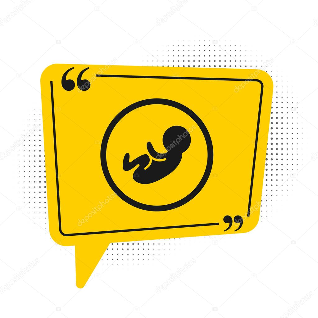 Black Baby icon isolated on white background. Yellow speech bubble symbol. Vector. icon