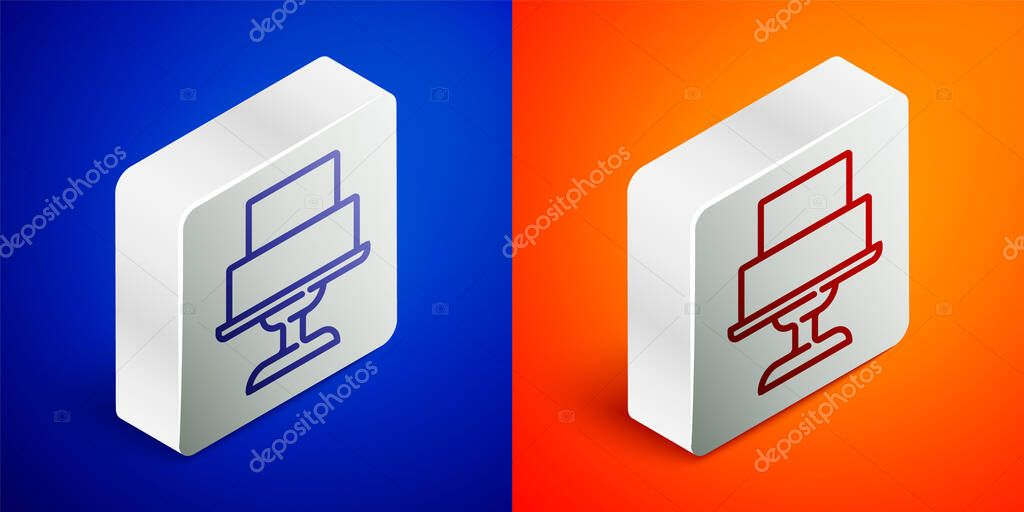 Isometric line Wedding cake icon isolated on blue and orange background. Silver square button. Vector. icon