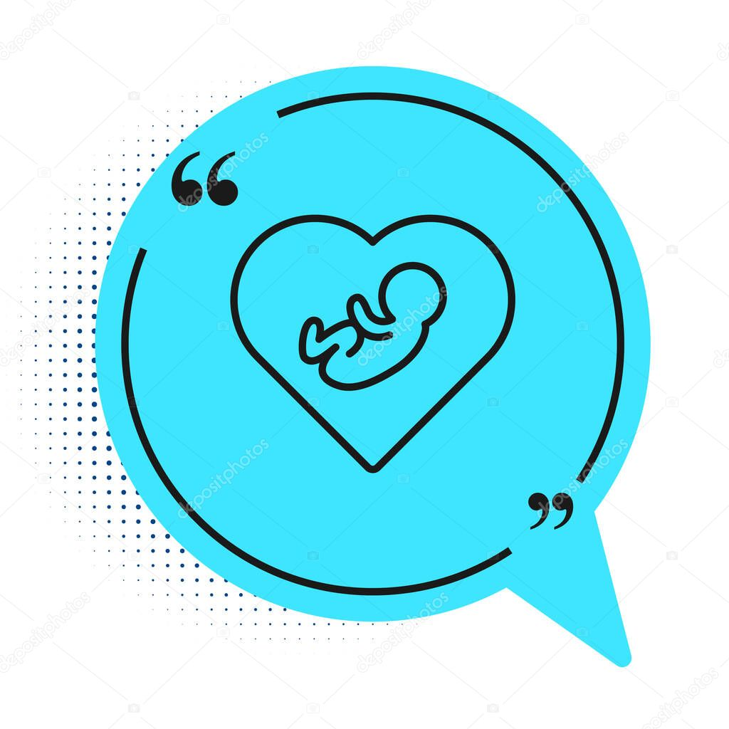 Black line Baby inside heart icon isolated on white background. Blue speech bubble symbol. Vector. icon