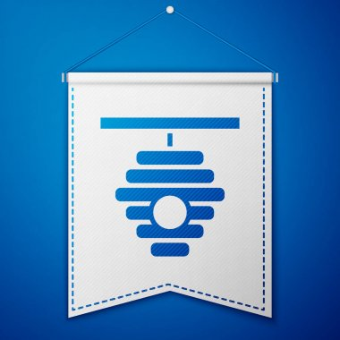 Blue Hive for bees icon isolated on blue background. Beehive symbol. Apiary and beekeeping. Sweet natural food. White pennant template. Vector. icon