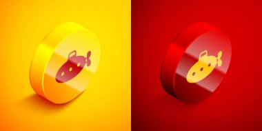 Isometric Submarine toy icon isolated on orange and red background. Circle button. Vector. icon