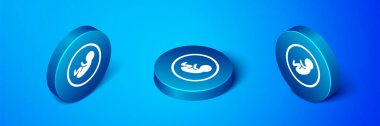 Isometric Baby icon isolated on blue background. Blue circle button. Vector. icon