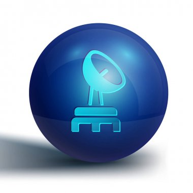 Blue Radar icon isolated on white background. Search system. Satellite sign. Blue circle button. Vector. icon