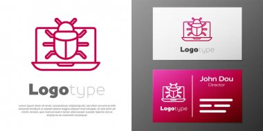 Logotype line System bug on monitor icon isolated on white background. Code bug concept. Bug in the system. Bug searching. Logo design template element. Vector. icon