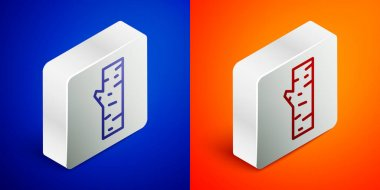 Isometric line Birch tree icon isolated on blue and orange background. Silver square button. Vector. icon