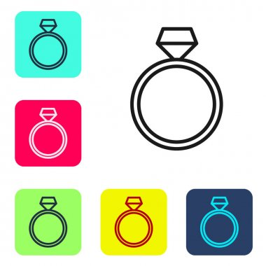 Black line Diamond engagement ring icon isolated on white background. Set icons in color square buttons. Vector. icon